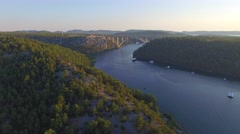 Motorway bridge over Krka river Stock Footage