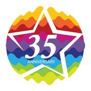 Template Logo 35 Anniversary Vector Illustration Stock Illustration