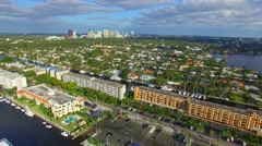 Fort Lauderdale Canals, aerial view going down Stock Footage
