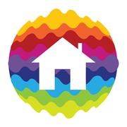 Home Rainbow Color Icon for Mobile Applications and Web Stock Illustration