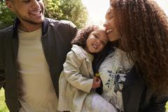 Young family of three on a country walk, close up, crop Stock Photos