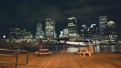 Boston downtown at night with city river Stock Footage