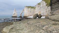 Etretat cliffs in Normandy, France Stock Footage