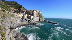 Coastline of Manarola, Cinque Terre. Five Lands, Liguria, Italy Stock Footage