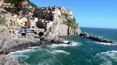 Coastline of Manarola, Cinque Terre. Five Lands, Liguria, Italy Stock Footage