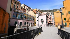 Coastline of Cinque Terre and quaint town. Five Lands, Liguria, Italy Stock Footage