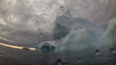 Unique Filming Shooting of iceberg under water. Stock Footage