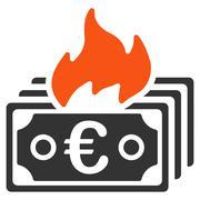 Burn Euro Banknotes Flat Vector Icon - stock illustration