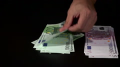 Counting and separate Euro Banknotes  Stock Footage