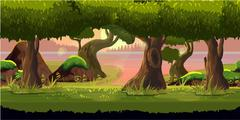 Forest and River Game Background Stock Illustration