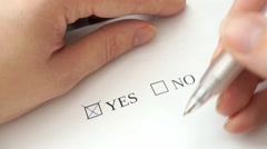 Filling form with yes and no checkboxes, correcting mistake Stock Footage