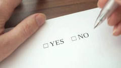 Filling form with yes and no checkboxes, making decision and rejecting it. Stock Footage