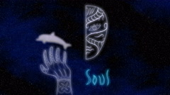 Glowing half face, hand tattoo and dolphin on a space background 3D illustration Stock Footage