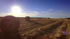 Aerial meadow hay bales rural field afternoon sun blue sky landscape haystacks Stock Footage
