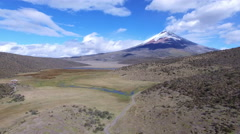 Cotopaxi and Laguna - Flying Away Stock Footage