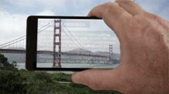 Augmented Reality San Francisco Golden Gate Bridge. Stock Footage