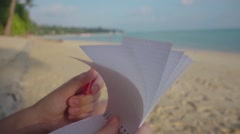 Notepad Sheets are Turned over in the Wind. Slow Motion Stock Footage