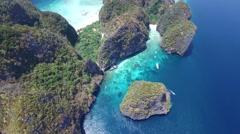 Stunning aerial shot of Maya Bay, Koh Phi Phi, Thailand Stock Footage
