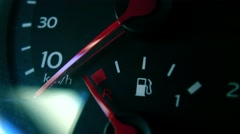 Car fuel gauge and attention sign 4K macro shot Stock Footage