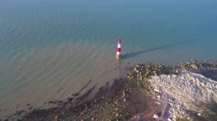 UK Coastline & Lighthouse by Drone Stock Footage