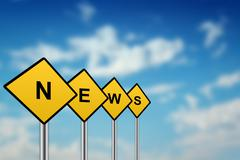News on yellow road sign Stock Illustration
