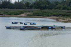Coop for feeding fish in river of Thailand Stock Photos