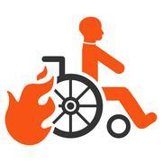 Burn Patient Flat Vector Icon Stock Illustration
