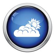 Sun behind clouds icon Stock Illustration