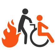 Fire Patient Evacuation Flat Vector Icon Stock Illustration