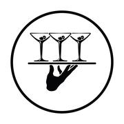 Waiter hand holding tray with martini glasses icon Stock Illustration