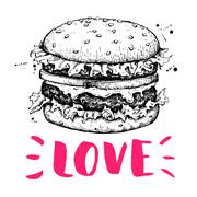 Vector vintage burger label. Hand drawn monochrome fast food ill Piirros