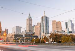 MELBOURNE - OCTOBER 2015: Beautiful city skyline at night. melbourne attracts Stock Photos