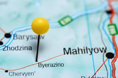 Byerazino pinned on a map of Belarus - stock photo