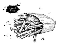 Vector vintage french fries drawing. Hand drawn monochrome fast Stock Illustration