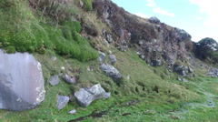 Green Canyon Walls and Rocky Pass in Cotapaxi Park Stock Footage