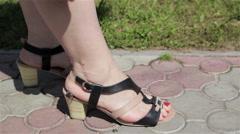 Women's sandals Stock Footage