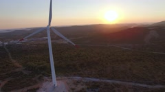 Aerial view of wind-turbines Stock Footage