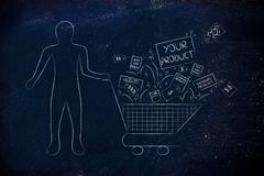Client's shopping cart with Your Product & competition's items Stock Illustration