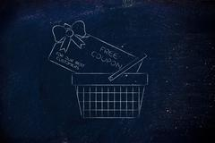 Shopping basket with huge free coupon Stock Illustration