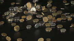 The Russian Ruble's Coins Falling In Slow Motion Stock Footage