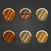 Set of round concave sand buttons Stock Illustration