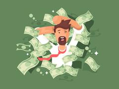 Man in a pile of money - stock illustration