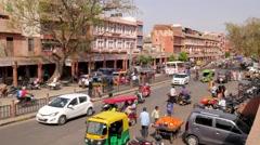 TIMELAPSE Traffic on tripolia bazar,Jaipur,India Stock Footage