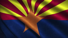 Arizona State Flag Flying in the Wind Looping 3D Animation Stock Footage