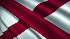 Alabama State Flag Flying in the Wind Looping 3D Animation Stock Footage