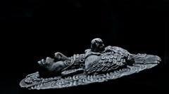 Sculpture of face of mesoamerican ancient art south american aztec, inca, olmeca Stock Footage