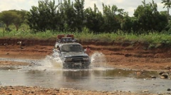 Safari Type Vehicle Driving Through River With Child and Cows in the Background Stock Footage
