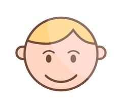 Happy cartoon laughing boy and laughing boy character. Happy boy face emotion Stock Illustration