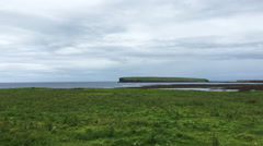 4K UltraHD A View of Broch of Birsay, Orkney Stock Footage