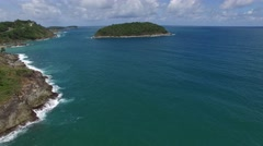 Panoramic Thailand coast & palm trees, from a helicopter Stock Footage
